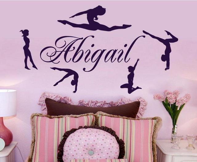 Personalized Name & Gymnasts Vinyl Wall Decals Custom Girls Name Gymnastics Dance Home Decor Wall Stickers Mural Poster Hot A656