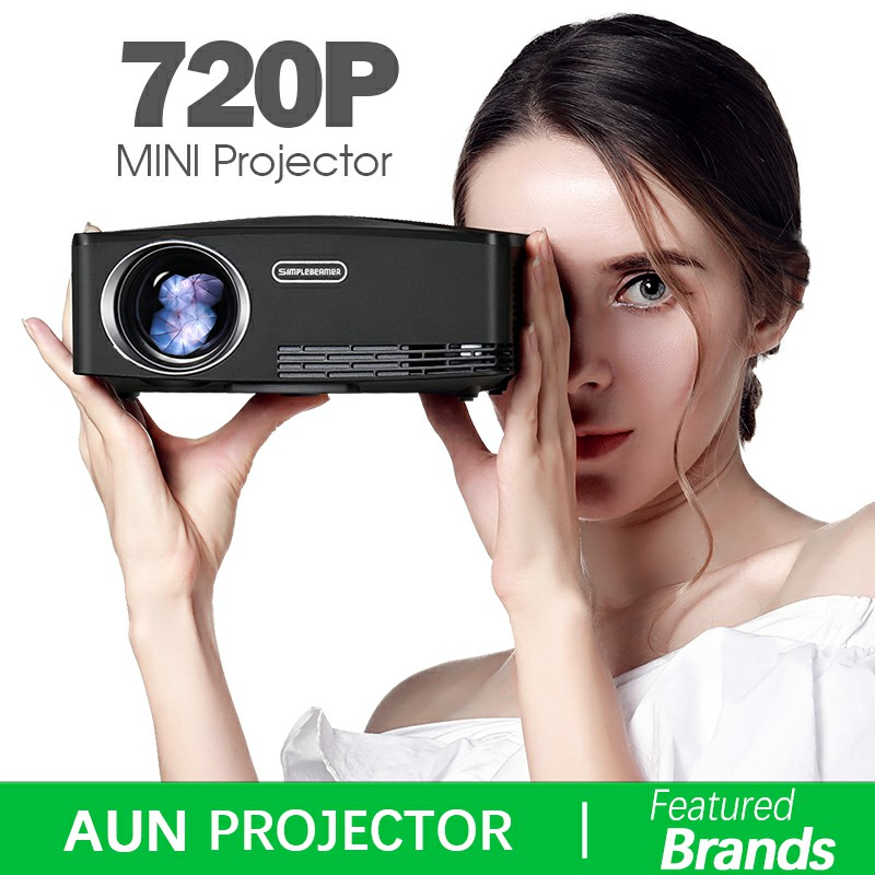 Marke AUN C80. HD MINI Projektor, 1280x720 p, Video Beamer. Unterstützung 1080 p, HDMI, USB, (Optional C80 UP Android version WiFi)