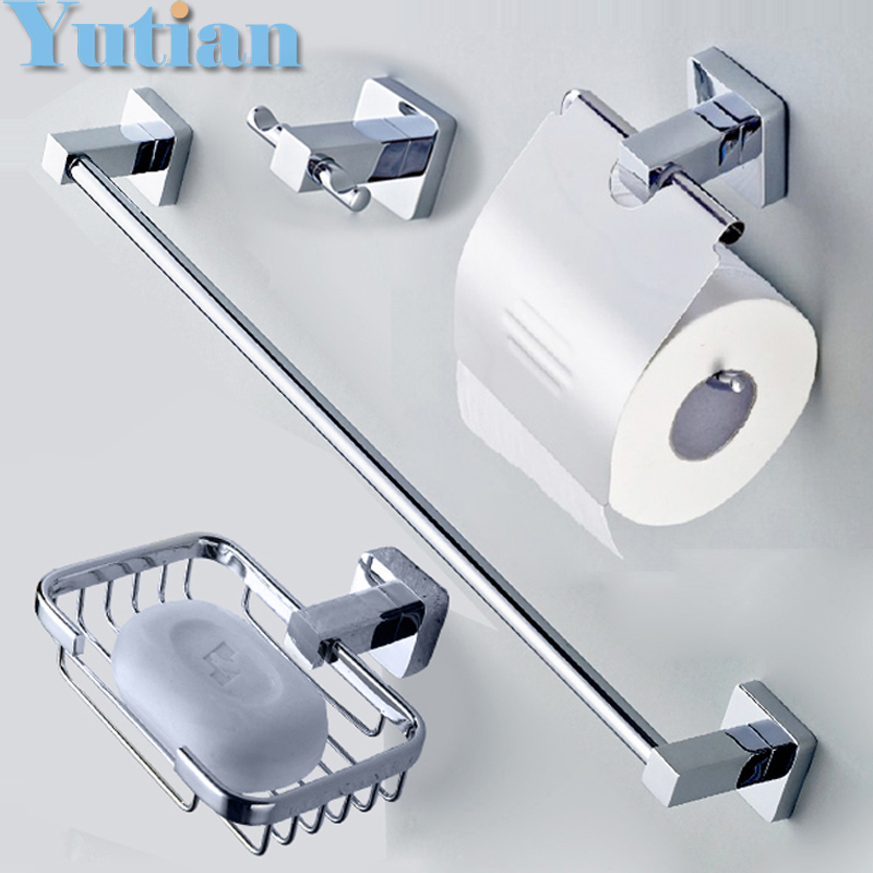 Free shipping,304# Stainless Steel Bathroom Accessories Set,Robe hook,Paper Holder,Towel Bar,Soap basket,bathroom sets,YT-10700B free shipping ba9105 bathroom accessories brass black bronze toilet paper holder