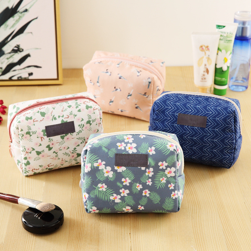 Purse Makeup-Pouch Toiletry-Kit Cosmetic-Bag Travel-Organizer Floral Mini Portable Sweet