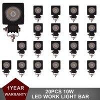 20pcs 10W LED Work Light Spot Flood 12V 24V Car SUV Tractor Boat Motorcycle Off Road Truck Trailer Driving Fog Lamp Headlight