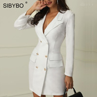 Sibybo Double breasted Notched Sexy Party Dress Long Sleeve Buttons Autumn Mini Pencil Dress Winter Casual Blazer Dress Women
