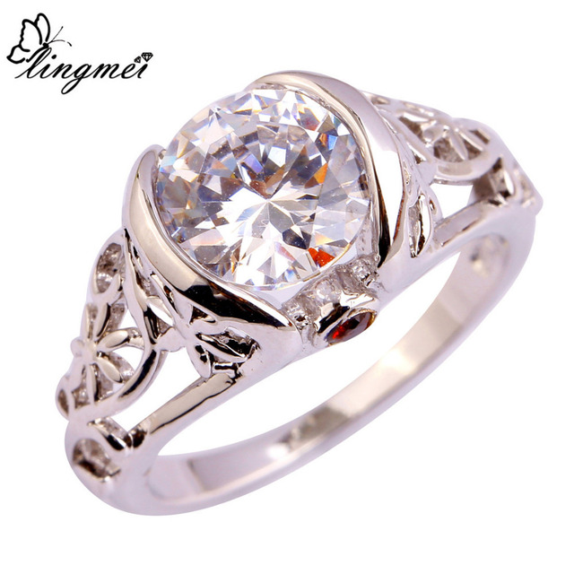 lingmei $0.99 Big Promotion Heart White CZ Silver Color Ring Size 6 7 8 9 10 11