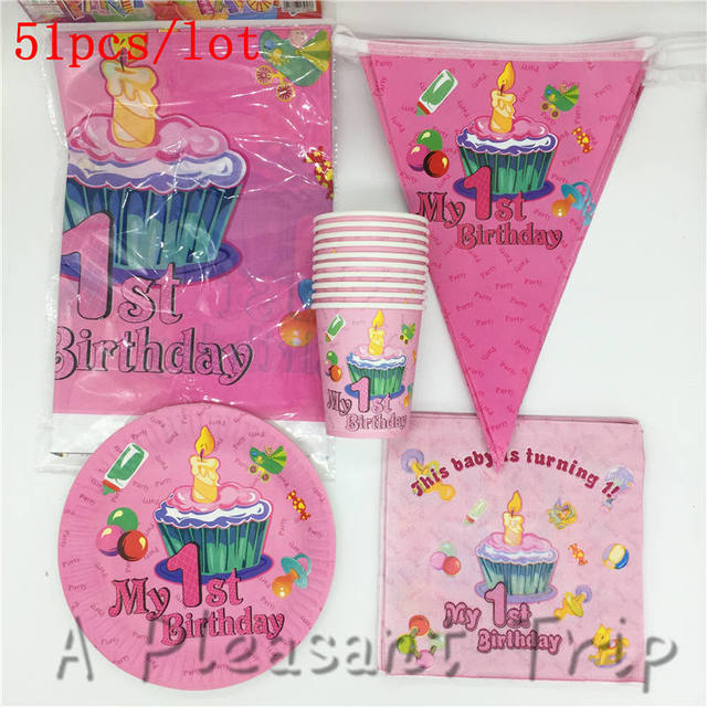 51pcs Lot Party Package Baby Shower Gift Happy Decoration Boy Girl First Birthday Paper Cup Tablecloth Supplies