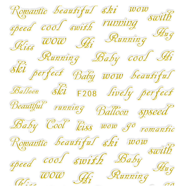 4pcs nails art sticker designs water transfer decals lovely 3d gold letter carving women manicure self
