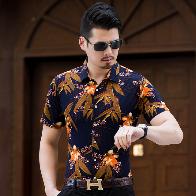 Zomer Overhemd.Kuyomens Mannen Overhemd Heren Overhemd Mannelijke Bloemen Kraag