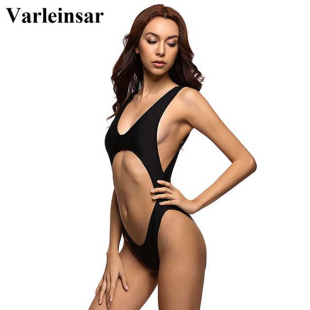 Black white tummy cut out cross Sexy one piece swimsuit Bathing suit wear swim suit for women swimwear Female Monokini 2017 V110