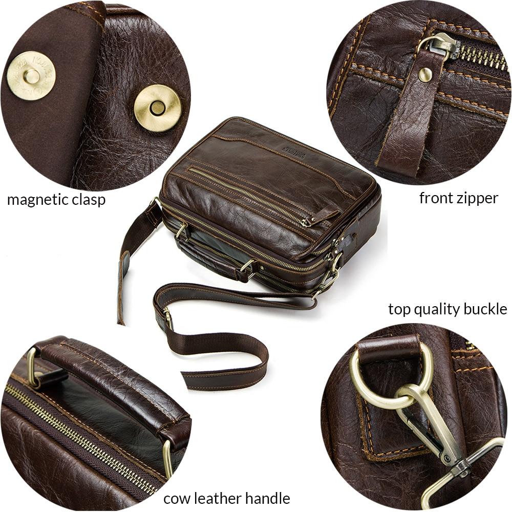 CONTACT'S new oil cow leather men's messenger bag male satchel bag men crossbody bags masculina bolso big casual shoulder bags 4