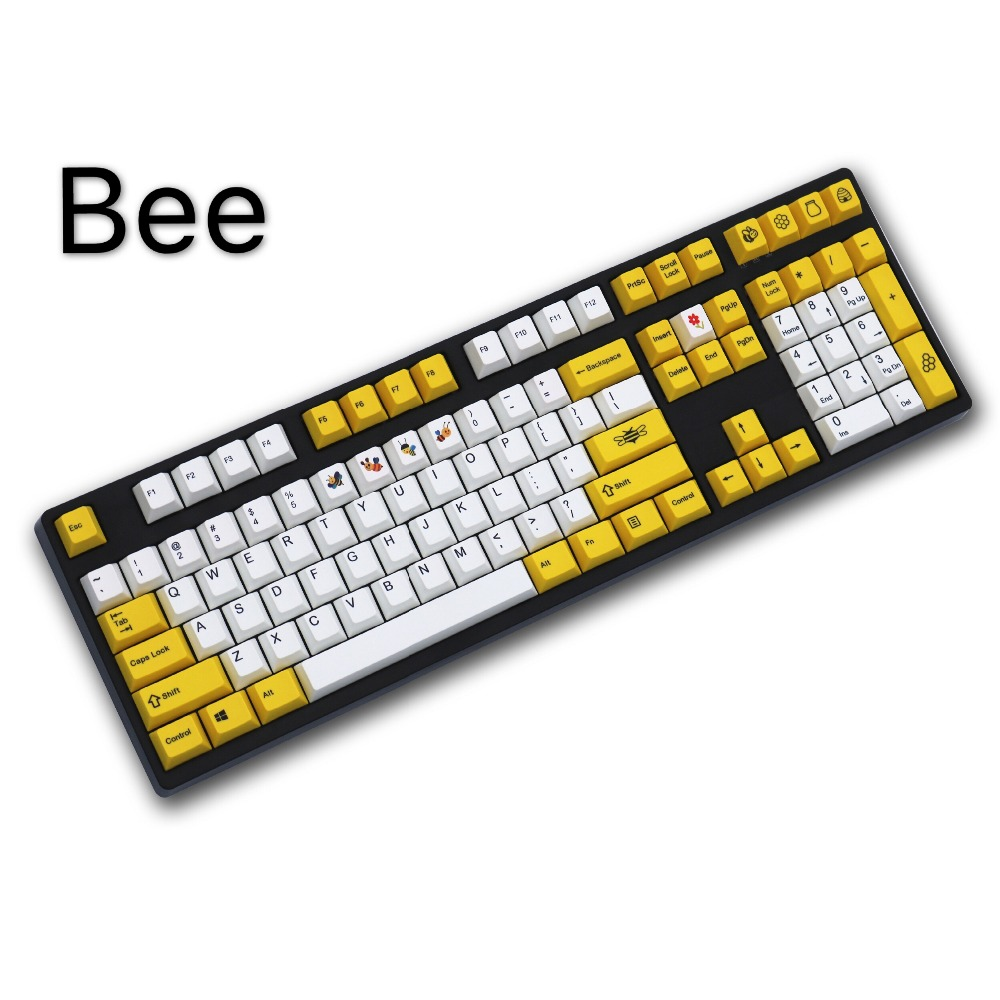 Bee Yellow/White 108/158 keys dye sublimated pbt keycap for mechanical keyboard Cherry Filco Ducky keycap Cherry profile цена