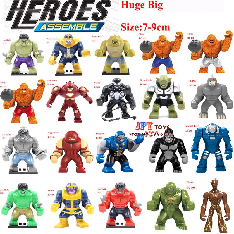 Single Sale Large big sieze Super Heroes Avengers Thanos Hulk Venom Ironman Building Blocks Toys for children brinquedos menino hulk xh002 super hero single sale bruce banner red she hulk marvel s the avengers building blocks sets model figure toys