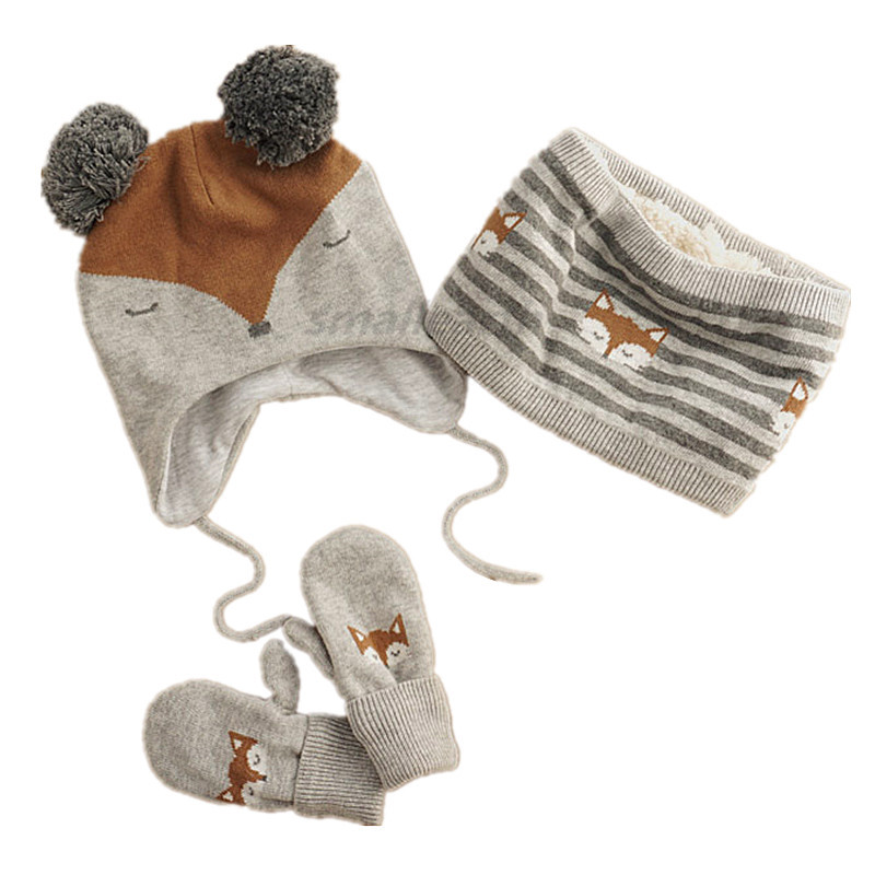 Winter Children Warm Thick Girls Hat Scarf Gloves 3pcs Sets Fox Knitted Baby Kids Beanies Caps Neck Warmers Gloves For Boy Girl