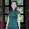 Verde do vintage Tradicional Chinesa Tang Terno das Mulheres Cobrem o Algodão Verão Blusa de linho Artesanal Botão de Camisa S M L XL XXL XXXL