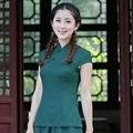 Vintage Green Traditional Chinese Women's Tang Suit Tops Summer Cotton Linen Blouse Handmade Button Shirt S M L XL XXL XXXL