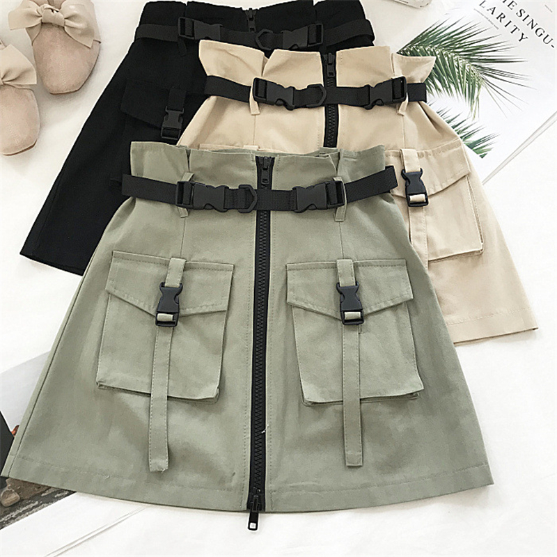 2019 Summer Skirt Women Fashion High Waist Mini Skirt Gothic Punk Style Pocket Buckle With Belt Streetwear Zipper A-line Skirt