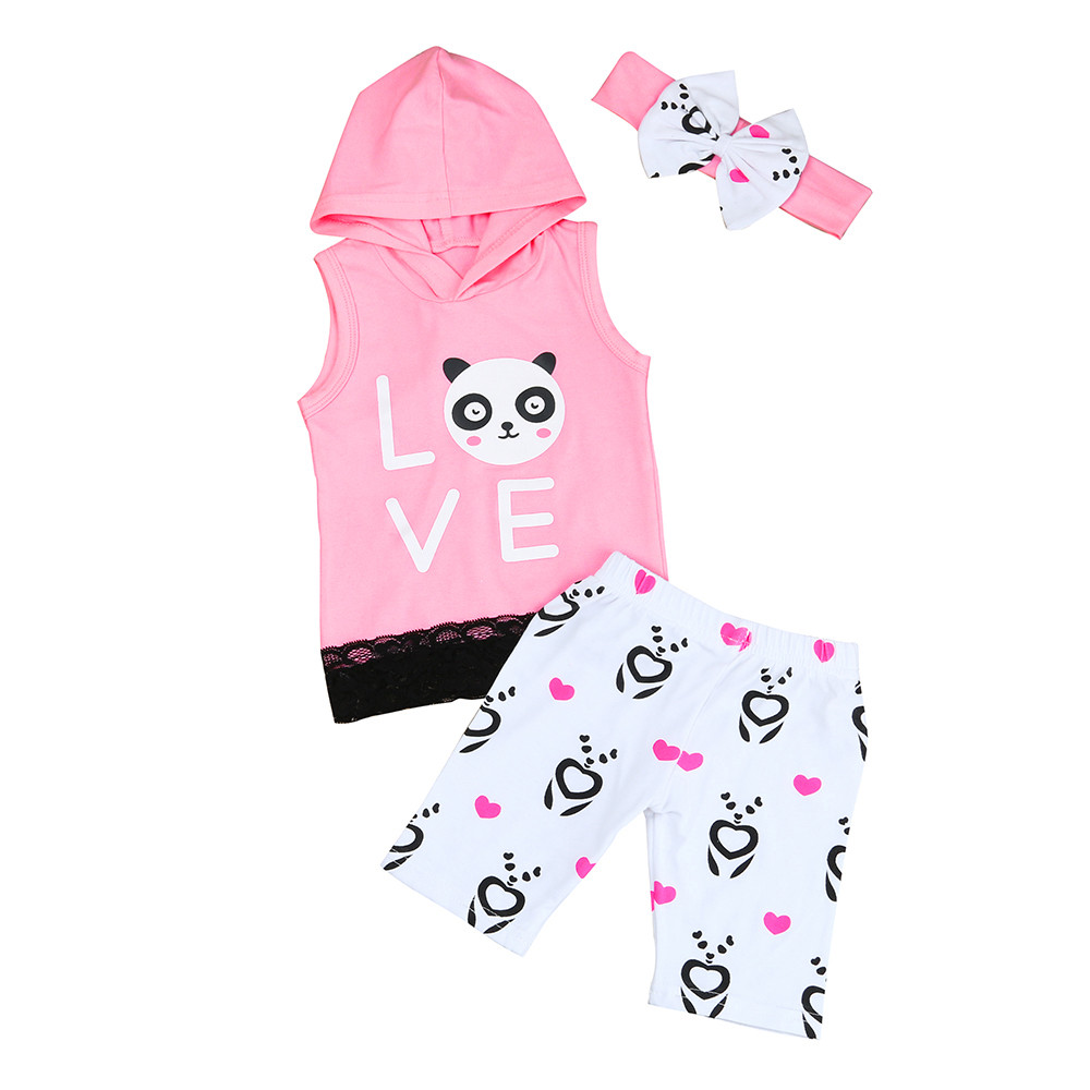 Toddler Kids Baby Girl panda Printing Hooded Vest Shirt sleevless+Pants+Headband 3pcs Outfits Clothes Set cotton child costumes