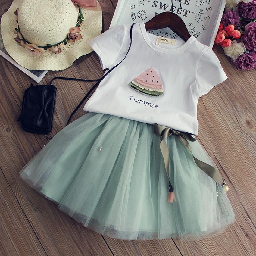Girls Clothing Sets 2017 New Summer Children Dresses Cartoon Watermelon Printed Short T-Shirt +Mesh Pearls Skirt 2Pcs Suit 2-7T favourite подвесная люстра favourite musa 1734 5p