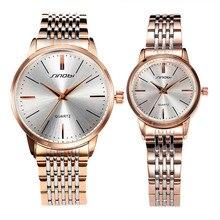 SINOBI Amantes de la Manera Caliente de Acero Inoxidable Reloj de Lujo de Los Hombres Las Mujeres Viste el Reloj de Pulsera de Cuarzo Relogio masculino Regalo SN32