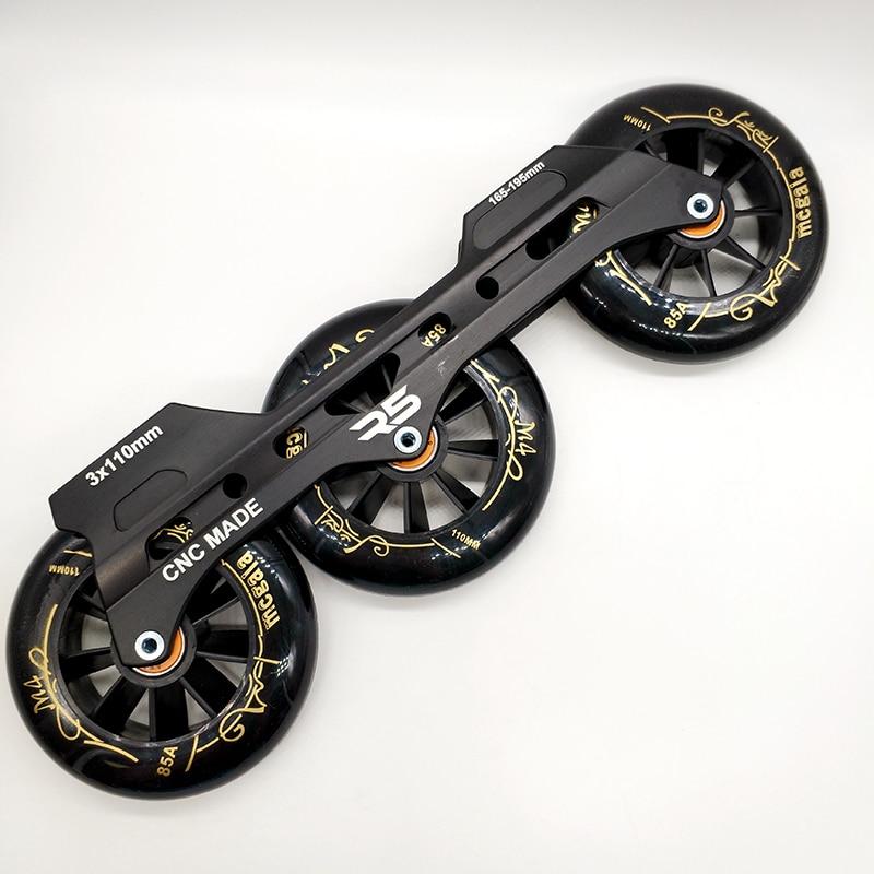 Free Shipping Speed Skates Frame 3 X 110 Mm With Wheels Abec-9 Bearing