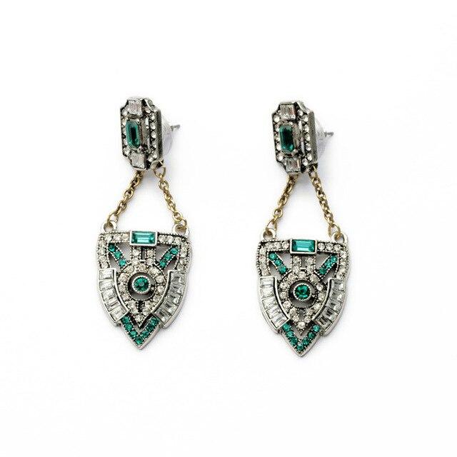 New Fashion Brand Design Art Deco Inspired Green Tone Brilliant Crystal Shield Drop Earrings For Women