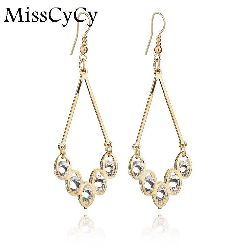 MissCyCy Simple Atmospheric Water Droplets Five Gold Color Earring Inlaid Rhinestone Earrings For Women