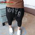 Chifave 2016 Meninos Primavera Verão Harem Pants Nova Chegada Das Crianças Menino Harém Preto Calça Crianças Bebê Carta Menino Ocasional calças