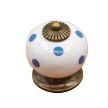 Cute Round Shape Polka Decoration Ceramic Door Knob Drawer Pull Handle - White
