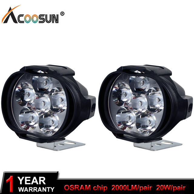 Led Lights For Motorcycle >> Acoosun 20w Motorcycle Led Light Fog Spot White Headlight Working