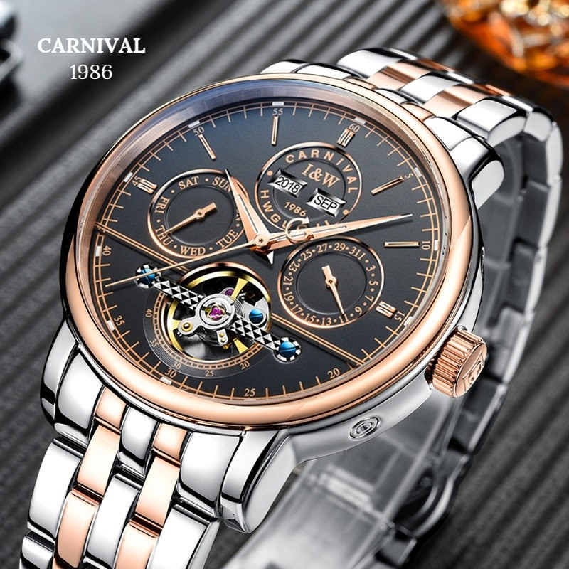 все цены на Skeleton watch CARNIVAL Luxury Business Automatic Watch Men with Perpetual Calendar,Calendar,Week,HD Luminous Mechanical Watches