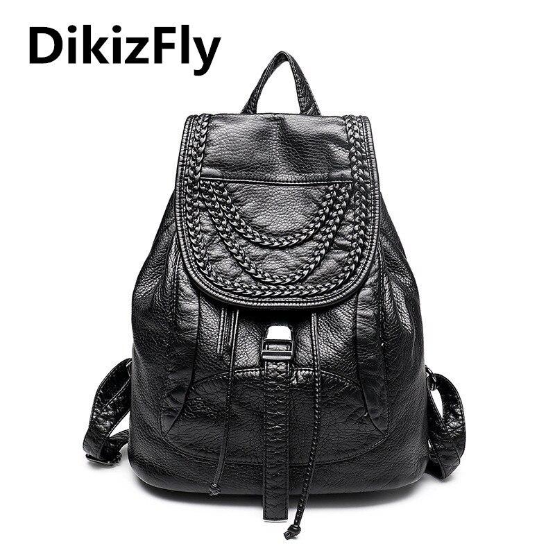 Fashion Women Backpack High Quality Leather Backpacks For Girls Blosas Women Bags Rivet Knitting Backpacks Student