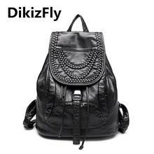 Fashion Women Backpack High Quality Leather Backpacks For Girls Blosas Women Bags Rivet Knitting Backpacks Student School Bag
