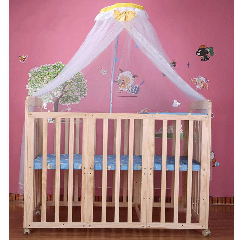 Beedome Natural Pine Baby Bed, 124cm Length Baby Crib, Can Combine With Adult Bed, Multifunction Baby Cot Can Be Learning Desk