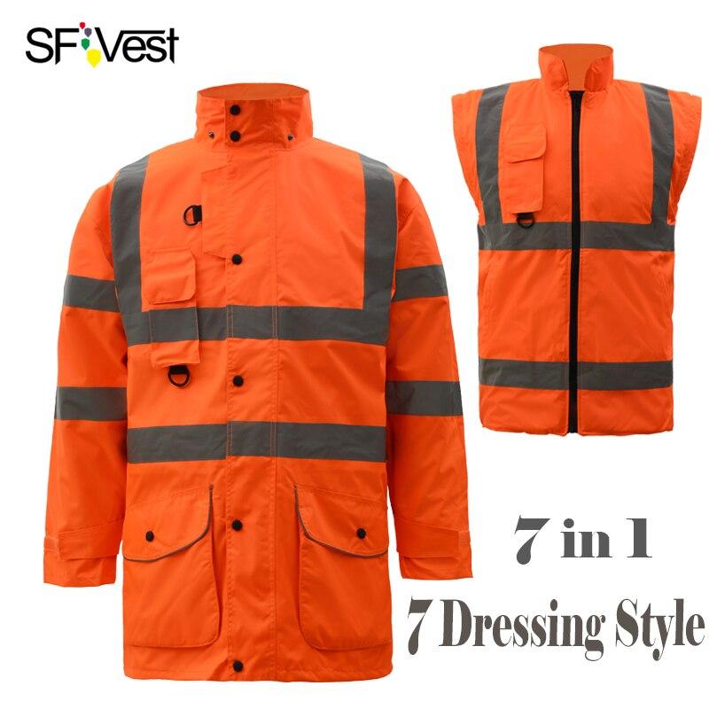 Sfvest высокая видимость светоотражающие Детская безопасность зимняя теплая куртка мужская мужской съемный Съемная 7 в 1 Куртка парка Бесплат