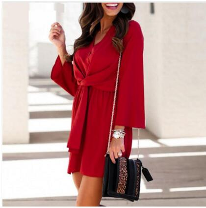 long sleeve chiffon summer <font><b>dress</b></font> women Black bow office bandage <font><b>dresses</b></font> <font><b>Sexy</b></font> <font><b>red</b></font> female ladies <font><b>short</b></font> <font><b>dress</b></font> image