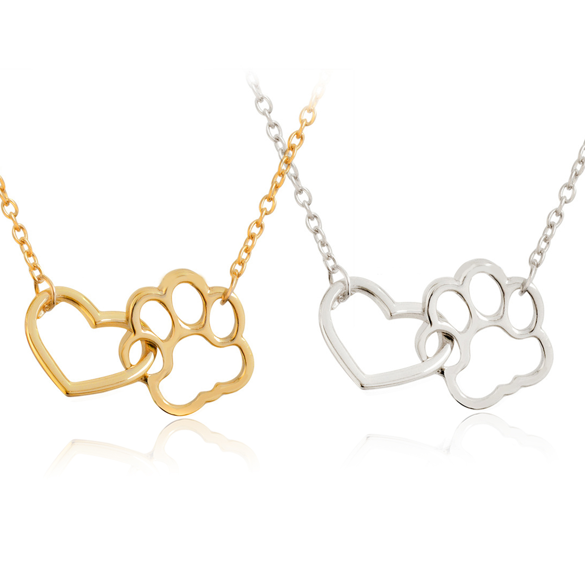 Trendy Hollow Love Heart Necklace For Women Romantic Cute Pet Paw Dog Cat Footprint Pendant Necklace Gold Chain Jewelry collares