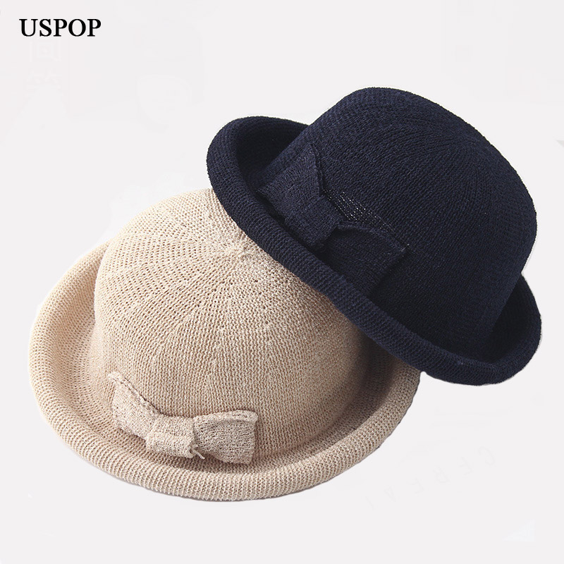 2018 New women sun hats female bow-knot solid color weaving curl brim sun hat foldaway c ...