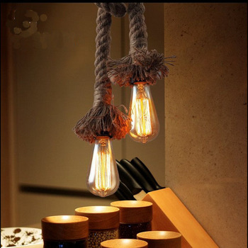 레트로 빈티지 로프 펜던트 라이트 램프 로프트 크리 에이 티브 개성 산업 램프 에디슨 전구 아메리칸 스타일 거실