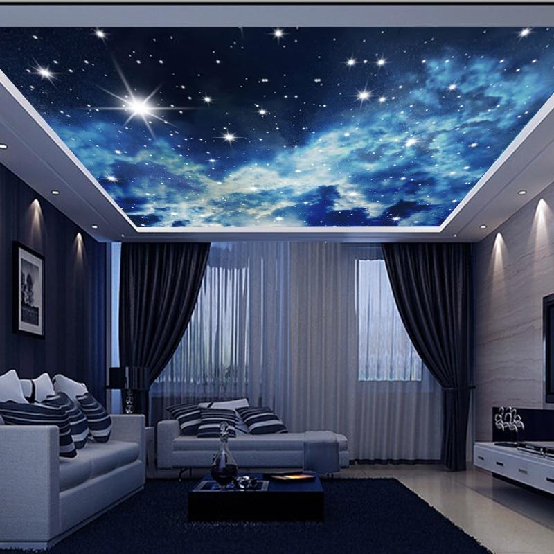 Large Custom Wall Mural 3d Ceiling Murals Wallpaper Blue Sky Stars Universe 3d Photo Mural for Hall Room 3d Wall Murals Wallpapers    - AliExpress