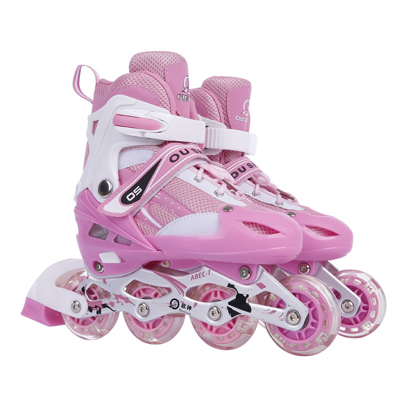 9 In 1 Adult Children Inline Skate <font><b>Roller</b></font> Skating Shoes Helmet Knee Protector Gear Adjustable Washable PVC Hard Flashing Wheels