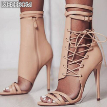 Women #8217 s Pumps Sexy High Heels Ladies Shoes Open Toe Party wedding Shoes Woman Thin Heels Summer Sandals 8820W cheap MECEBOM Basic Super High (8cm-up) Fits true to size take your normal size Fashion Cross-tied Rubber Casual Spring Autumn