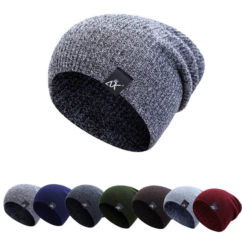 Moda 7 colores hombres gorros sombreros de invierno para hombres gorra  chicos espesar cobertura tapa Balaclava Skullies sombrero de punto cálido  mujeres ... e7d1c7afed7