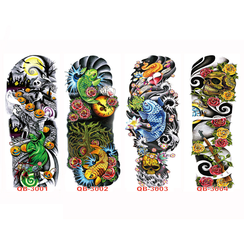 3 STKS Tijdelijke Tattoo Mouwen Volledige Arm Waterdichte Tatoeages - Tatoeage en lichaamskunst - Foto 2