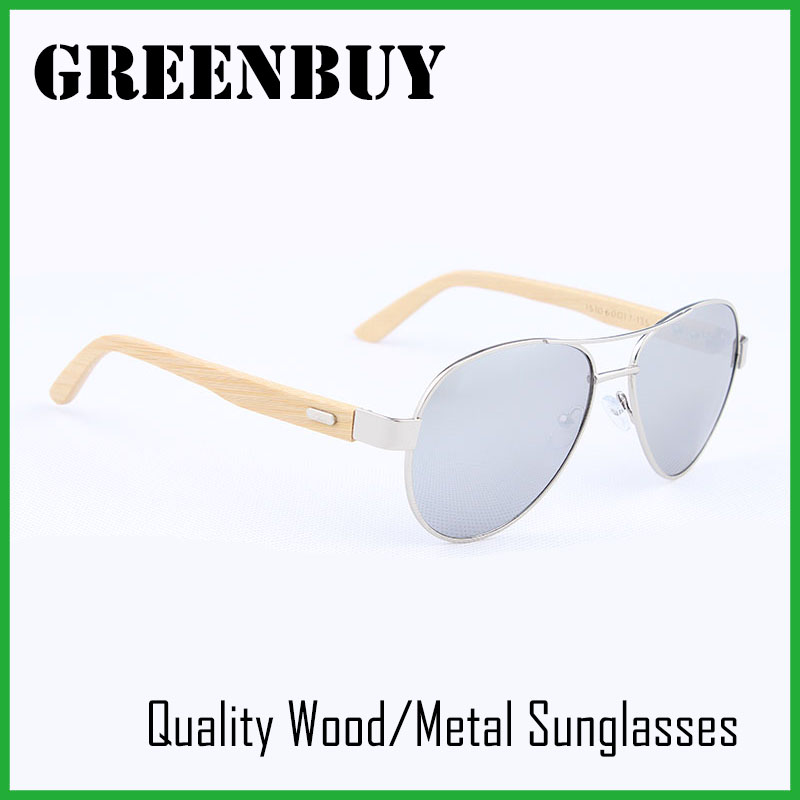 GREENBUY Adult font b Handmade b font Bamboo Sunglasses Silver Frame Mirror Lens UV400 Pilot font