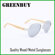 GREENBUY Adult Handmade Bamboo Sunglasses Silver Frame Mirror Lens UV400 Pilot Sun Glasses Shades Steampunk with Wood Case Box