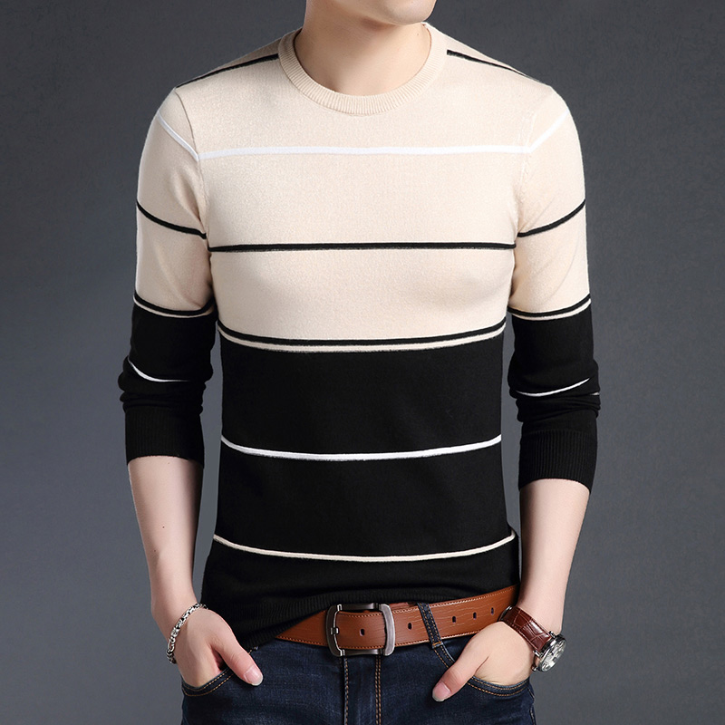 Image 4 - Knitted Large Size 5XL O neck Striped Patchwork Men's Sweater Slim Business Home Long Sleeve Casual Sweaters 2019 Autumn Winter-in Pullovers from Men's Clothing