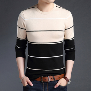 Image 4 - Malha grande tamanho 5xl o pescoço listrado retalhos camisola masculina magro casa de negócios manga longa blusas casuais 2020 outono inverno
