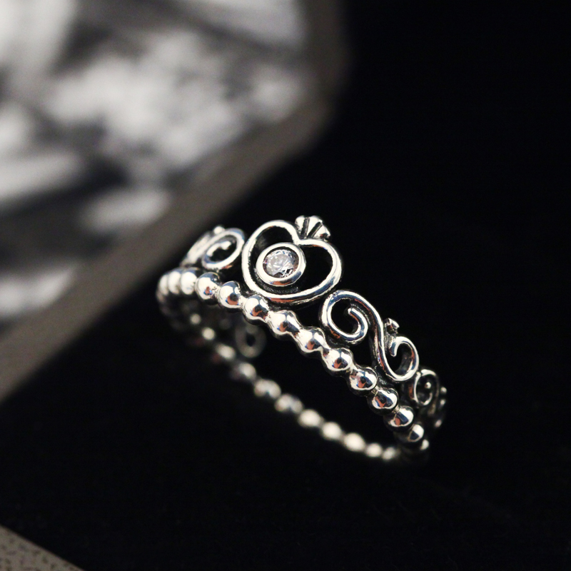 Diamond Engraved 925 Sterling Silver Ring Crown Ring