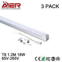 New 1200mm 18W T8 Led Tubes Integrated Without Fixture AC85 265V Free Shipping