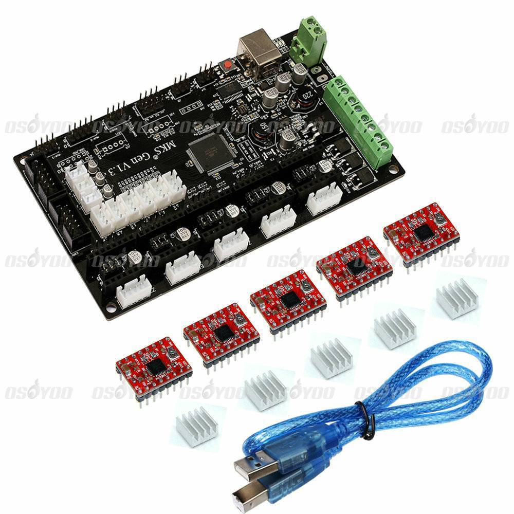 MKS Gen V1.3 3D Printer Control Board (MEGA2560 + RAMPS 1.4) w/ 5PCS A4988 Kits Stepper Motor Driver Free Shipping