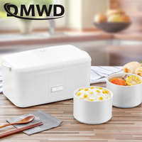 DMWD Portable Electric Heating Lunch box Food cooking Warmer Ceramics Container Steamer Travel Soup Lunchbox Mini Rice cooker EU