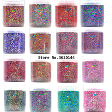 Nail Glitter 50g/bag 28 Colors Nails Holographic Purple Pink Red Mix Chunky Sequins Powder For Gel Polish Art Glitters